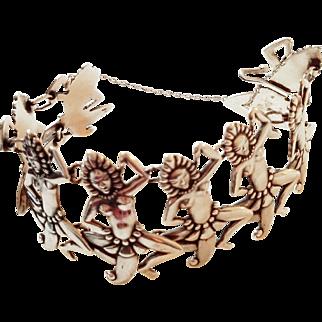 "w/$2500 APPRAISAL: Vintage 50s LOS CASTILLO Sterling Silver Taxco Mexico ""Dancers"" Bracelet - 1950s"
