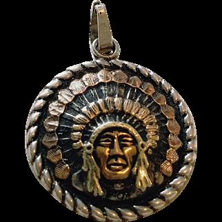 """Vintage EDWARD H BOHLIN """"Indian Head"""" Sterling Silver/14KT GOLD Pendant"""