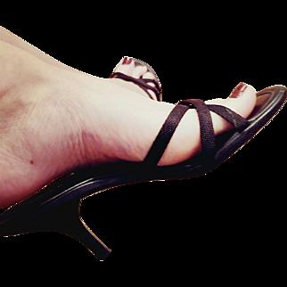 Mint Condition: ICONIC PRADA Vintage 90s Black KITTEN HEEL Thongs Slides Shoes 37/7