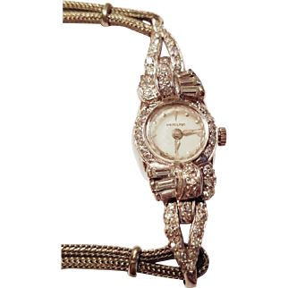 ❤ WOW! ❤ w/ $2800 APPRAISAL:  Vintage 50s Ladies PLATINUM/1.10ct DIAMOND Hamilton cocktail Watch - 1950s