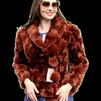Vintage $4500 FENDI for HENRI BENDEL 80s China Red Rabbit Fur Jacket Coat -1980s
