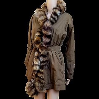 Iconic Vintage 80s GIANFRANCO FERRE 1800.00 Fox FUR Puffer Coat Jacket - 1980s