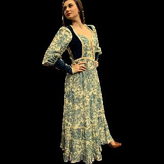 RARE, ICONIC!❤ Vintage 70s GUNNE SAX Calico/VELVET Corset Renaissance-print Dress - 1970s