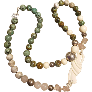 Vintage Multi Stone AGATE/ROSE QUARTZ Sterling Silver Necklace - 144.3g