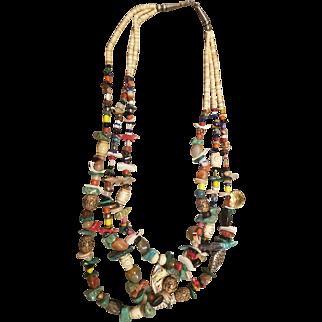 Vintage NATIVE Turquoise/Multi Stone/MOP FETISH Necklace - 233 grams!