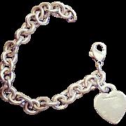 Vintage 1990s TIFFANY & CO. Sterling Silver HEART CHARM Link Bracelet 36.3g