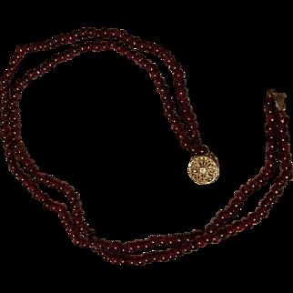 OLDER '40s Estate Piece: ❤ 1940s Gold-Washed STERLING/Red GARNET Choker Necklace 34.0g