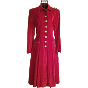 ❤❤Phenom!!❤❤ Vintage RED VELVET 50s A. Harris & Co. TRUE RIDING Dress-Coat - 1950s