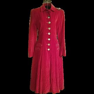 ❤❤Phenom!!❤❤ Vintage RED VELVET 50s A. Harris & Co. TRUE RIDING Dress-Coat - 1950s
