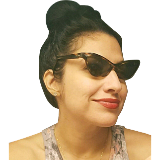 ❤AUTHENTIC 1950s ❤ Vintage 50s VICTORY SUNTIMER 0300 Real Cat Eye Tortoise Sunnies Sunglasses