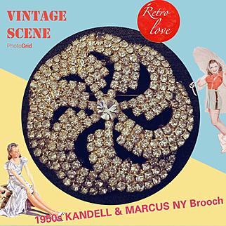 Vintage 50s KANDELL & MARCUS Large Pinwheel Rhinestone brooch pin - 1950s