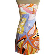 Vintage 90s EMILIO PUCCI Iconic Print STRAPLESS A-line Slit sides Dress - 1990s Couture