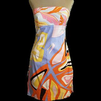 Vintage 90s EMILIO PUCCI Iconic Print STRAPLESS A-line Slit sides Dress - 1990s Couture
