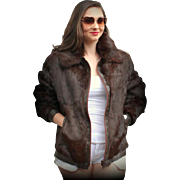 Vintage 80s $1100 NEIMAN MARCUS Chocolate MINK FUR/Leather Coat Jacket - 1980s