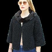 ❤SIMPLY STUNNING MOD❤ Vintage 60s Curly Persian Astrakhan Fur/Lambs Wool Crop Jacket/Coat - 1960s