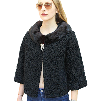 ❤SIMPLY STUNNING MOD❤ Vintage 60s Curly Persian Astrakhan Fur/Lambs Wool Crop Jacket/Coat - 1960s
