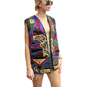 Vintage 80s JUDITH ROBERTS of MEXICO Multicolored Patchwork Vest-Jacket - 1980s one size fits most!