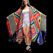 1 OF A KIND❤ Vintage 70s ADELE SIMPSON Bold Geometric boho festival Kimono Jacket - 1970s