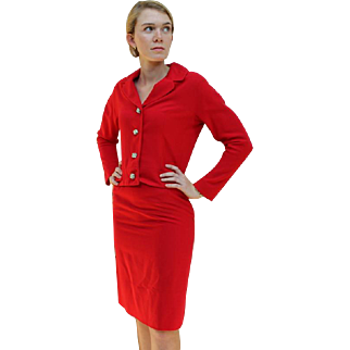 Old Hollywood Glam! ❤ Vintage 50s BETTY ROSE Iconic RED COCKTAIL SUIT Jacket/Skirt/Dress - 1950s
