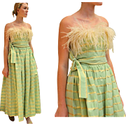 ❤ Vintage 80s ALBERT CAPRARO $1000+ Gold Lame Taffeta/MARIBOU feather Gown Dress - 1980s - Red Tag Sale Item
