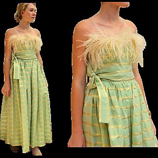 ❤ Vintage 80s ALBERT CAPRARO $1000+ Gold Lame Taffeta/MARIBOU feather Gown Dress - 1980s