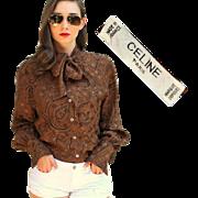 ❤EXQUISITE!❤ Vtg 80s CELINE PARIS $900 Pussy Bow Silk Paisley Blouse Top Shirt - 1980s