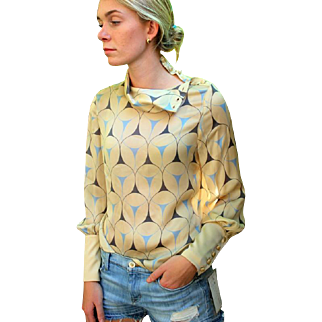 ❤EXQUISITE!❤ Vintage 80s LOUIS FERAUD Silk Chiffon Blouse Top - Unused with Original $875 Tags - 1980s