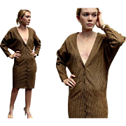 ❤RARE FAUX CROC!❤ Vintage 80s North Beach Leather Michael Hoban Suede LOW V-Neck Dress - 1980s