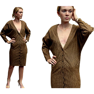 ❤RARE FAUX CROC!❤ Vintage 80s North Beach Leather Michael Hoban Suede LOW V-Neck Dress - 1980s