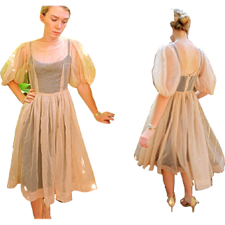 AUTHENTIC ROCKABILLY CHIC❤ Vintage 50s Dusty Rose poly sheer Chiffon Over-Dress - 1950s