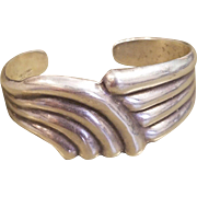 "❤OLDER Vintage 50s TAXCO Sterling Silver ""True Modernist""  Cuff Bracelet - 1950s Artist's Inititals"