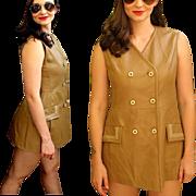 TRUE MOD Vintage 60s Beatles-era LEATHER Go-Go Mini Dress - 1960s