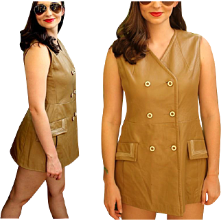 TRUE MOD Vintage 60s Beatles-era LEATHER Go-Go Mini Dress - 1960s