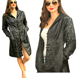 Vintage 90s Hong Kong Black SILK BROCADE Trench/Evening/Cocktail Coat - 1990s