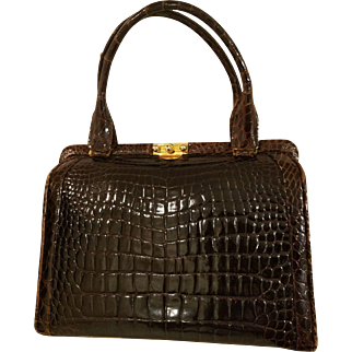 $$ Vintage 50s/1950s HIGH-END Alligator Crocodile Skin Purse Bag -  ORIG LOCK/KEY