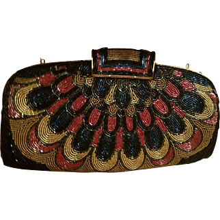 "Exquisite! Vintage 50s/1950s Heavily Beaded ""PEACOCK"" Shoulder Bag/Clutch EVENING Purse"