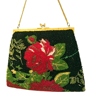 "Exquisite! Vintage 50s/1950s Heavily Beaded ""ROSE GARDEN"" Evening Bag PURSE"