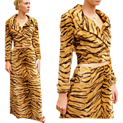 ❤RARE 2 PC❤ Vintage 60s Animal print-Tiger Faux Fur CROP Jacket/MAXI Skirt -- 1960s Mod