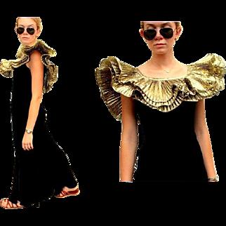 Vintage LILLIE RUBIN Iconic 80s/1980s AVANT GARDE Black Velvet Gown Dress