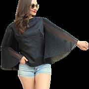 Vintage 60s MOD GO-GO Accordion-sleeve Black DACRON Crop Top/Blouse/Shirt - 1960s