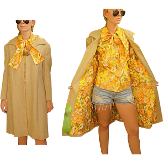 GROOVY ❤ Vintage 60s MOD Burlap Linen Trench SWING Coat  - Matching Lining & Blouse Top - 1960s