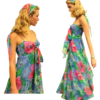 ❤ Garden Party-Chic! ❤ Vintage 70s flowy festival Floral Chiffon Maxi DRESS & Matching HEAD SCARF - 1970s