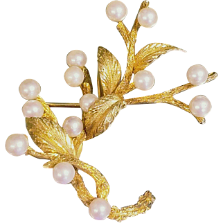 """Current $2200.00 APPRAISAL: Vintage 14kt Gold/Akoya PEARL """"Tree Branch"""" Pin Brooch - 1980s"""