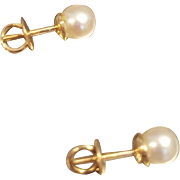 PHENOM Vintage 80s ESTATE 18KT Gold & Cultured Pearl Screwback Pierced Earrings  - 6mm