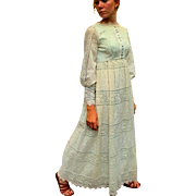 SUMMER OF LOVE❤ Vintage 60s Emma Domb Hippie mod/boho/wedding Victorian Lace MAXI Dress - 1960s