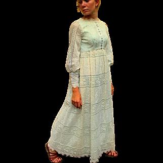 SUMMER OF LOVE❤ Vintage 60s Emma Domb Hippie mod/boho/wedding Victorian Lace MAXI Dress - 1960s