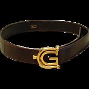 "Gorgeous $950 Vintage 90s GUCCI Rare HORSEBIT ""G"" Chocolate Leather Belt - 1990s"