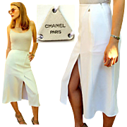 RARE, SEXY & ICONIC! Vintage 90s CHANEL White Midi High-Slit kick-pleat Skirt - 1990s