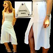 RARE, SEXY & ICONIC! Vintage 90s CHANEL White Midi High-Slit kick-pleat Skirt - 1990s