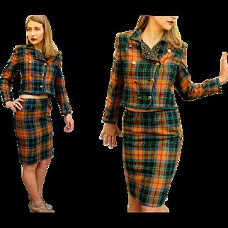 Vintage 80s UNGARO PARALLELE $850 Metallic Plaid Avant Garde Dress Suit -1980s